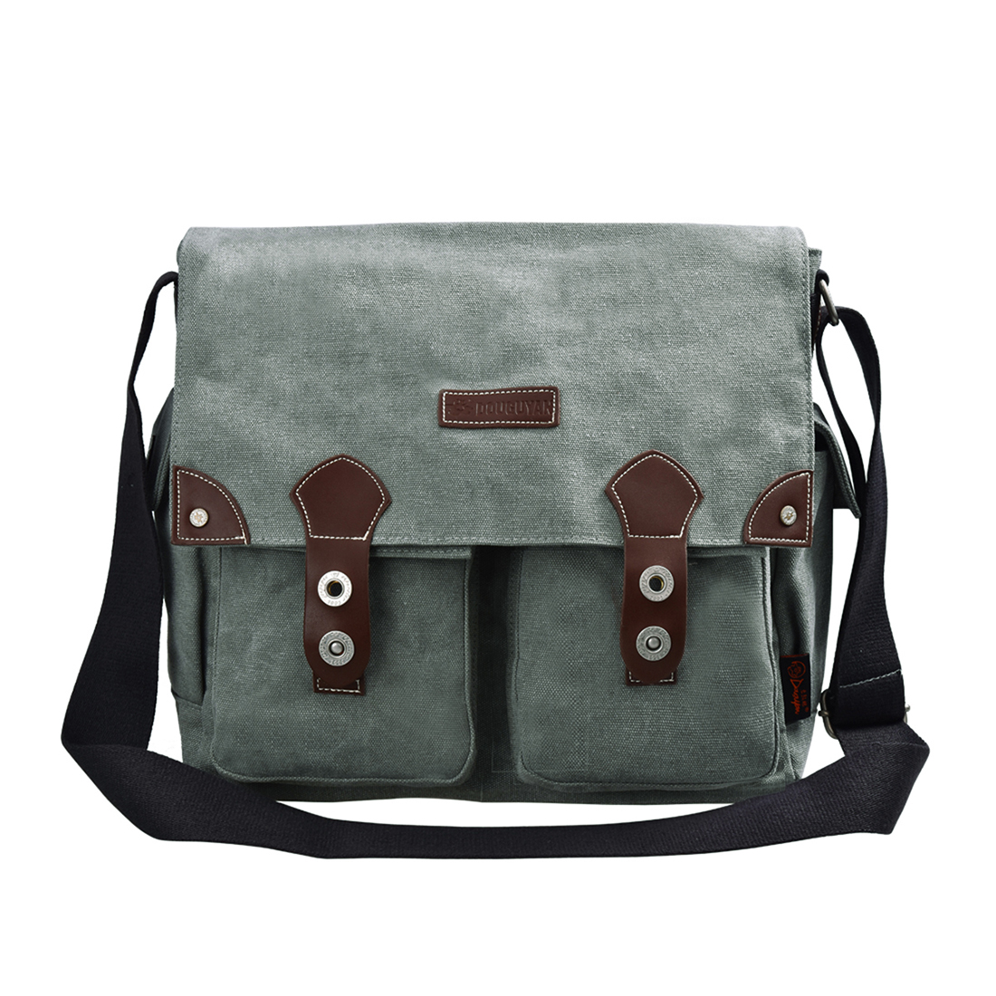 Men Casual Canvas And Leather Messenger Bag Crossbody Bag