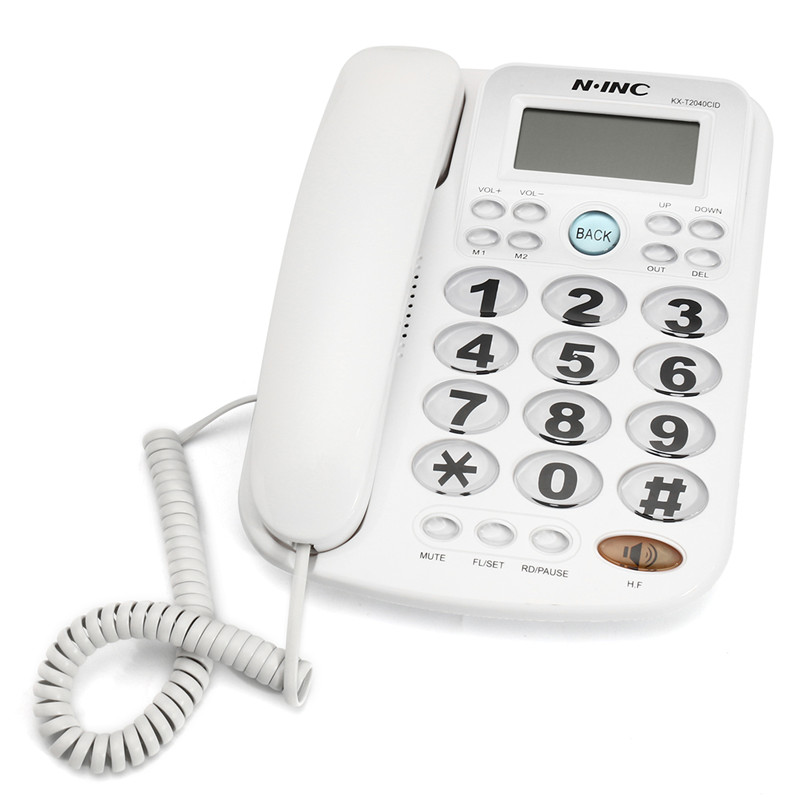 Big Button Corded Phone Landline Telephone Extension Fixed Phon Desktop Home Office Equipment White