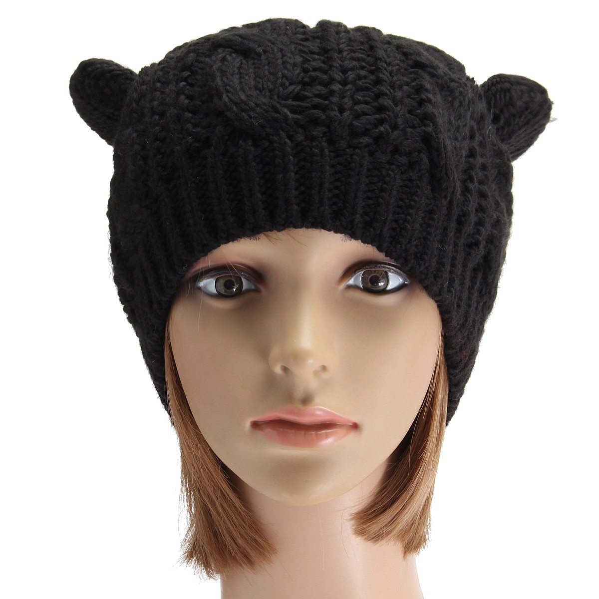 Women Ladies Crochet Knitted Cat Ear Devil Slouch Beanie Hat Winter Warm Cap