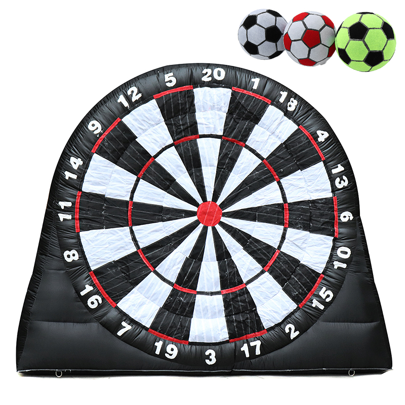 3M High Giant Game Soccer 3 Footballs Inflatable Dart Board With Air Blower