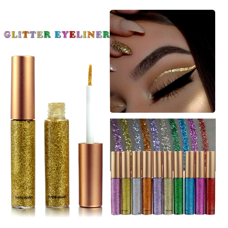 Glitter Eyeliner Liquid Makeup Eyes Liner Waterproof Gold Green Shinning Diamond Pigmented Halloween