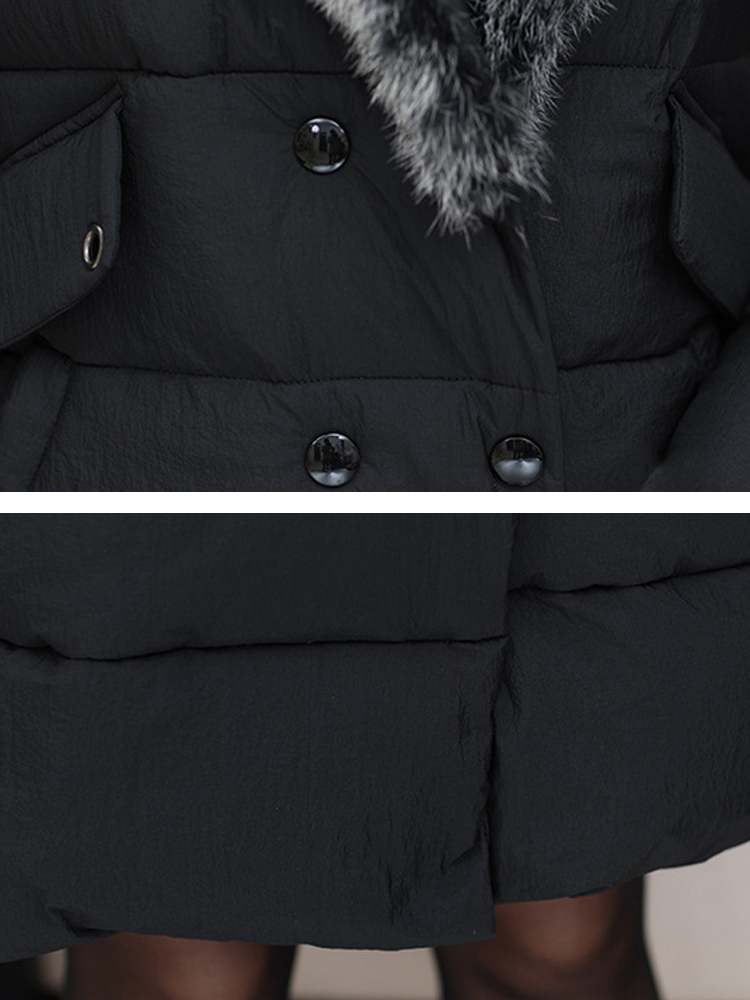 Women Fur Collar Double Breasted Thicken Down Coats