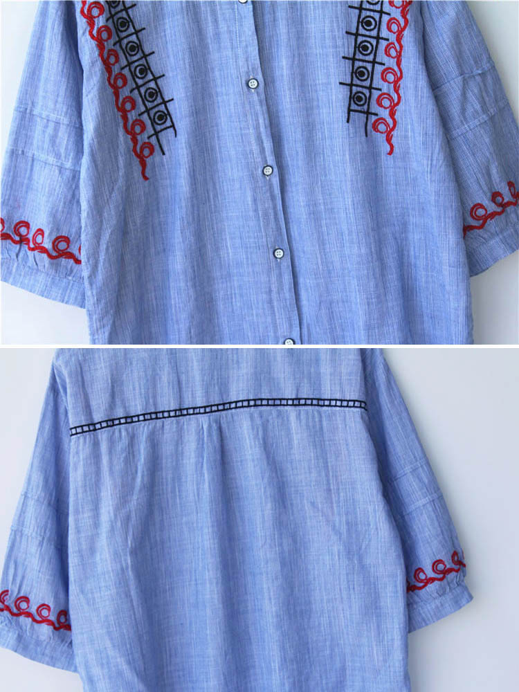 Cotton Loose Stand Collar Embroidery Striped Button Shirts