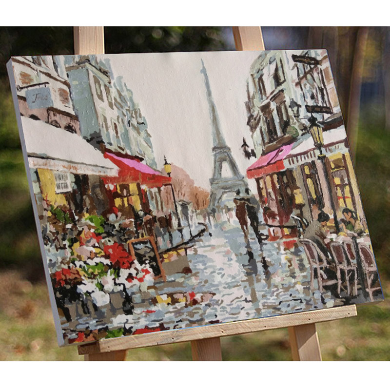 40X50CM Frameless Embracing Lover Under Romantic Rainy Day Canvas Linen Canvas Oil Painting DIY Paint By Numbers Home Wall Art Picture