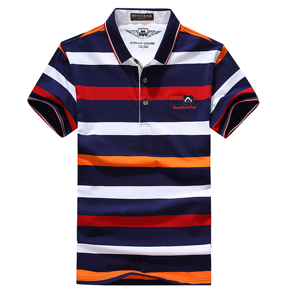 Men's Fashion Stripes Printed Golf Shirts Casual Lapel Colla
