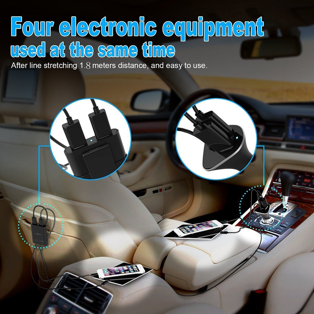 4 Usb Ports 48w 9 6a Car Charger Front Back Seat Adapter 1