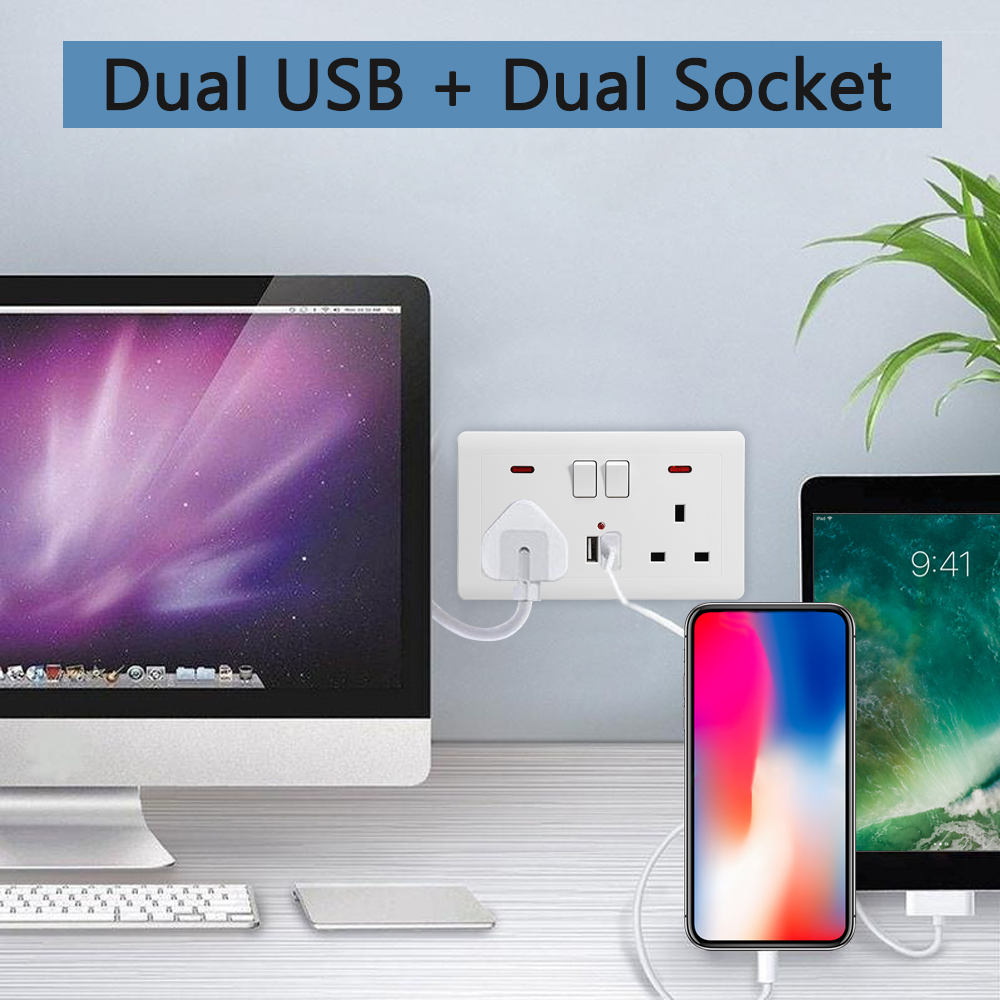 146 Type Dual USB Wall Socket Switch DC 5V/2.1A Electrical Plugs Sockets Wall UK Socket Plate