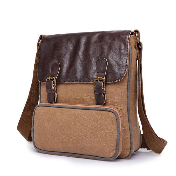 Retro Canvas PU Shoulder Bags Women Vintage Crossbody Bags Messenger Bags