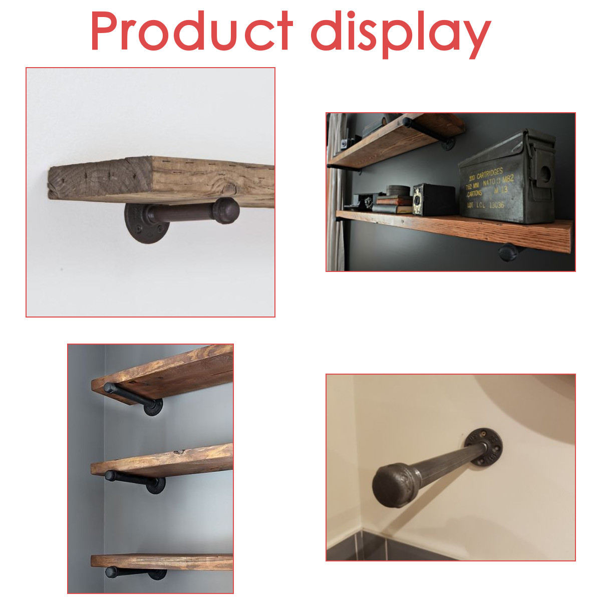 280mm Length Iron Industrial Pipe Holder Flange Bracket Shelf for Toilet Paper Support