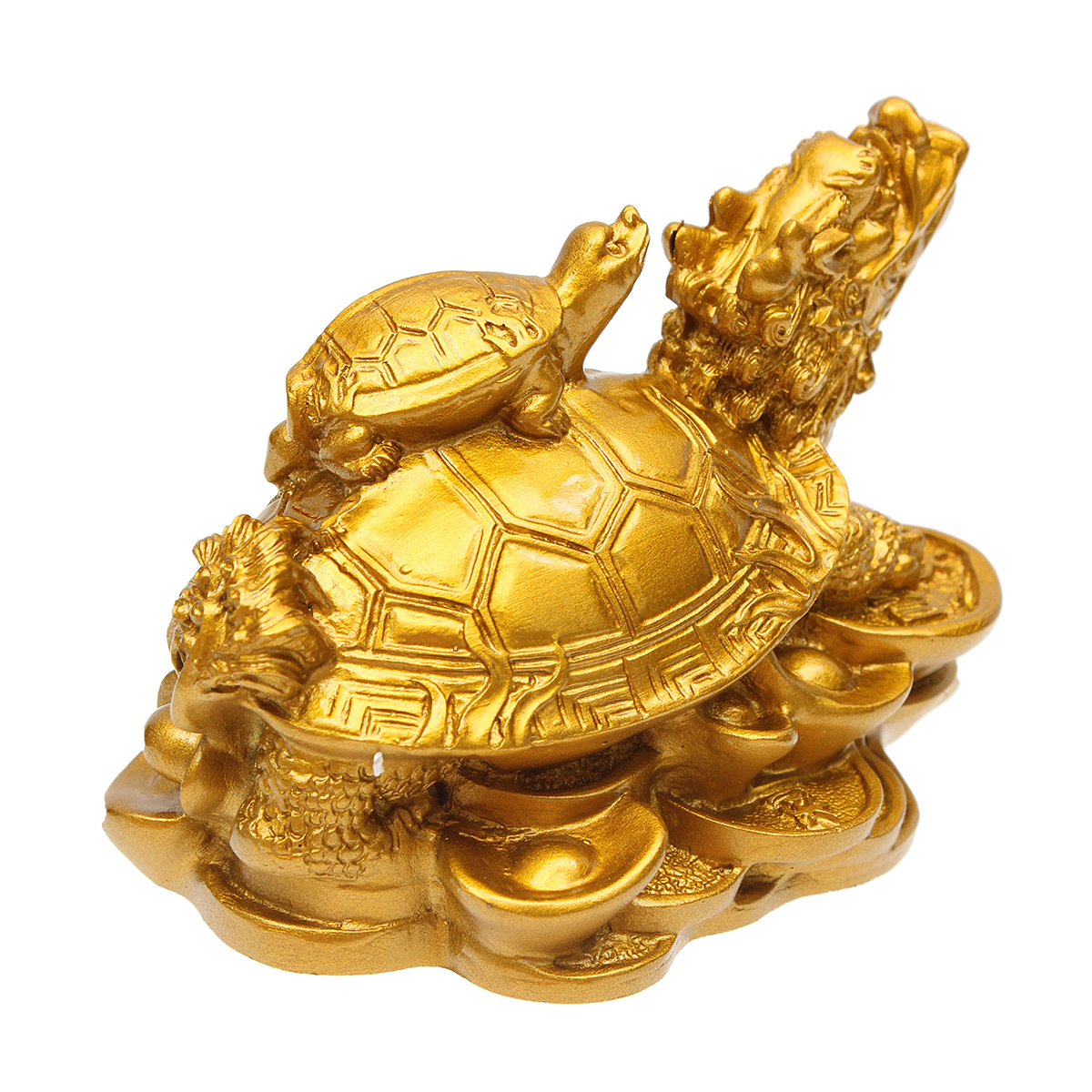 Resin Statue Decoration Feng Shui Dragon Turtle Tortoise Gold Coin Money Wealth Figurine