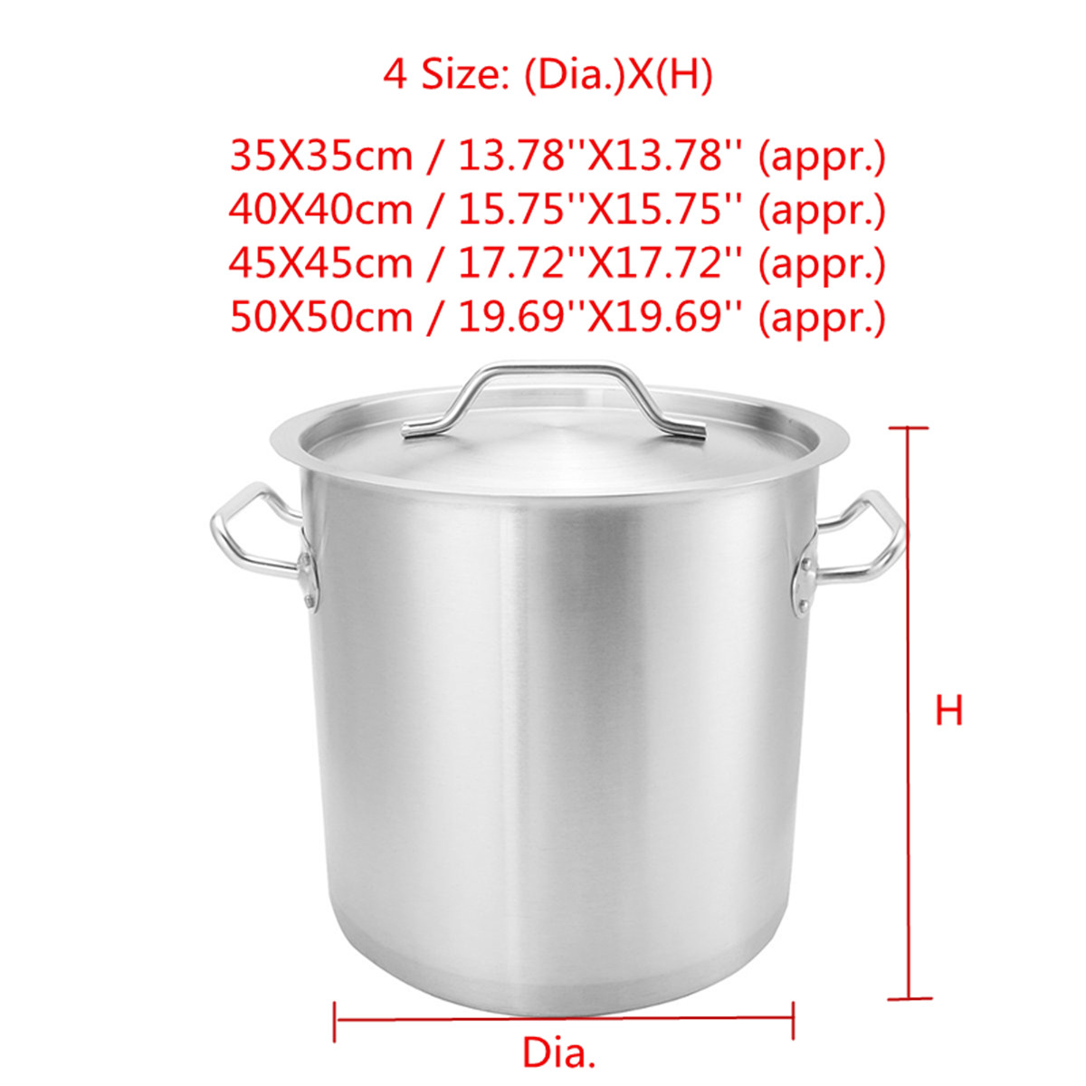 Thicken Stainless Steel Stock Pots Induction Kitchen Soup Cookware 35 / 40 / 45 / 50cm Kitchen Pot