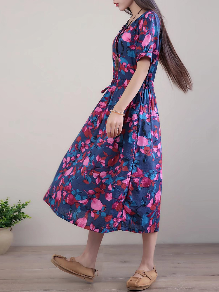 Women Floral Printed Short Sleeves Dress