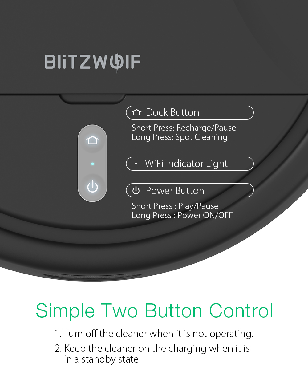 BlitzWolf® BW-VC2 Smart Robot Vacuum Cleaner with 380mL Dust & 100mL Water Tank, 2200Pa Strong Suction, Works with Alexa, 360°Laser Radar, 9 Sensors and APP Control