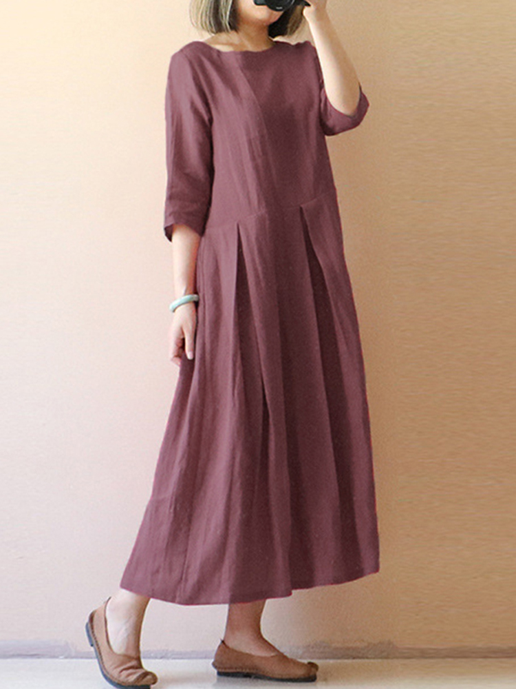 Womens Vintage Half Sleeve Pleated Solid Long Dress