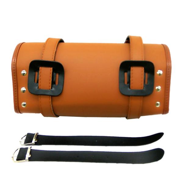Motorcycle Saddle Bag Tool Leather Luggage Handle Bar Round Barrel Storage Pouch Unicersal