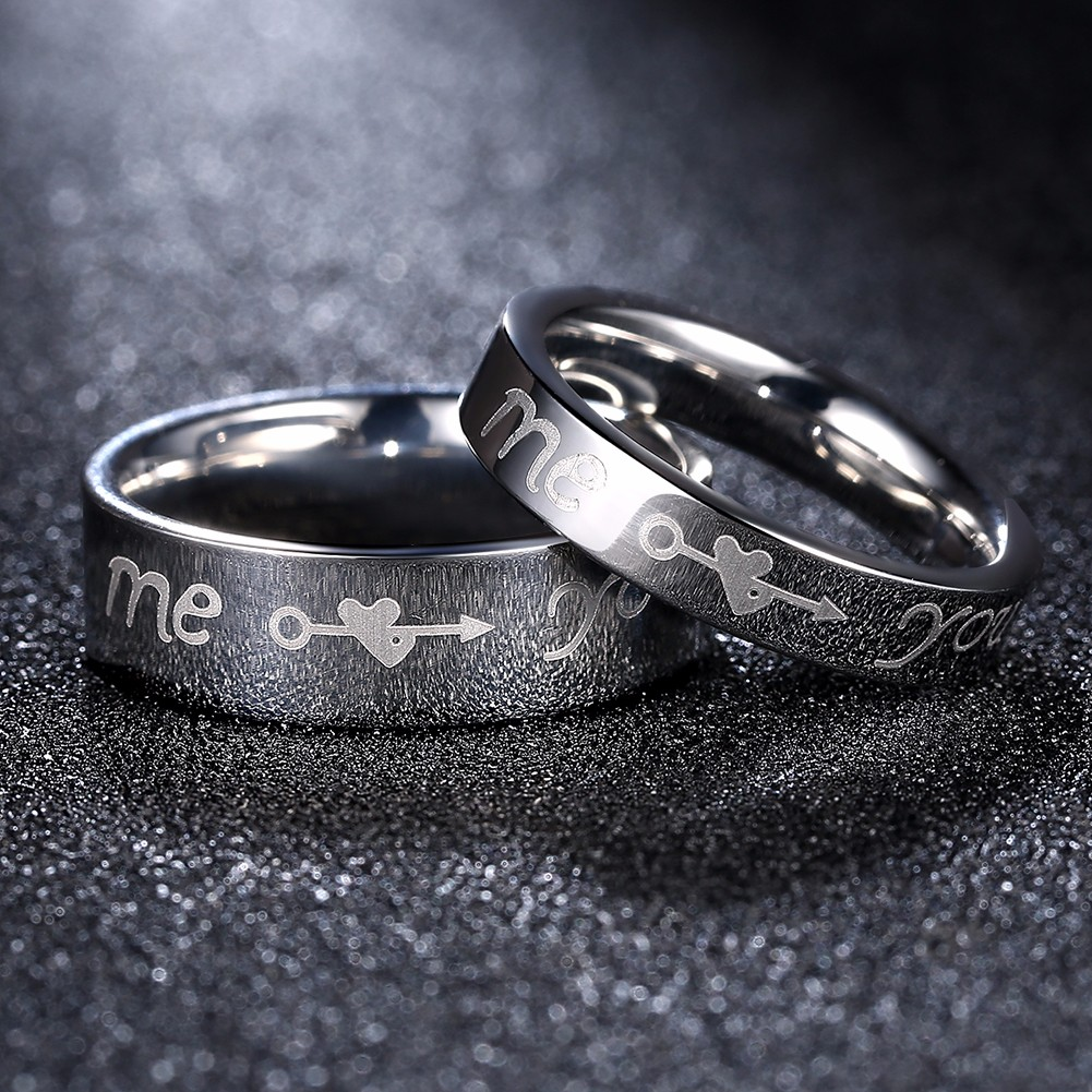 I Love You Heart Arrow Couple Ring Dating Gift Women Men Jewelry For Wedding Birthday