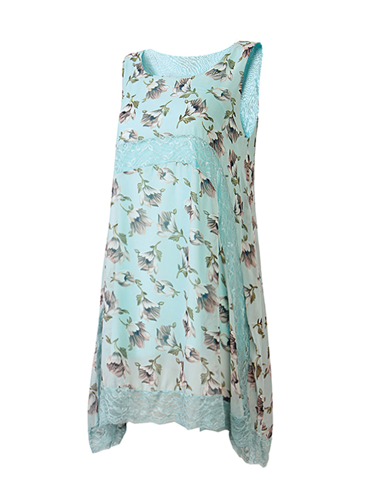 Women Patchwork Lace Floral Printing Sleeveless Loose Asymmetry Hem Dress