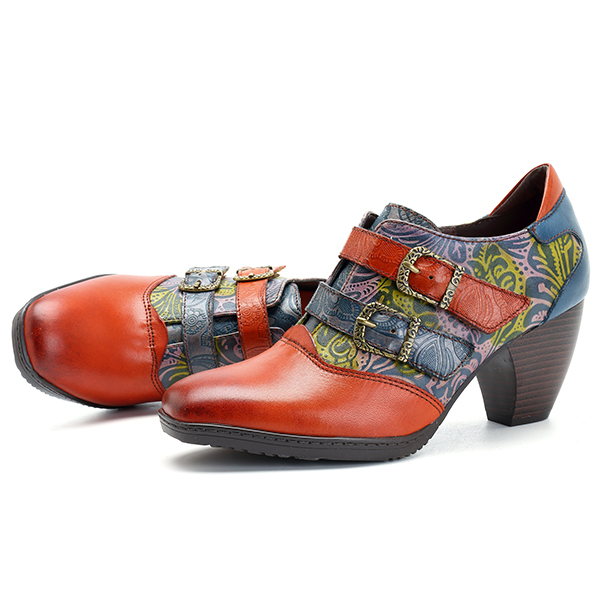 SOCOFY Retro Hook Loop Buckle Leather Shoes