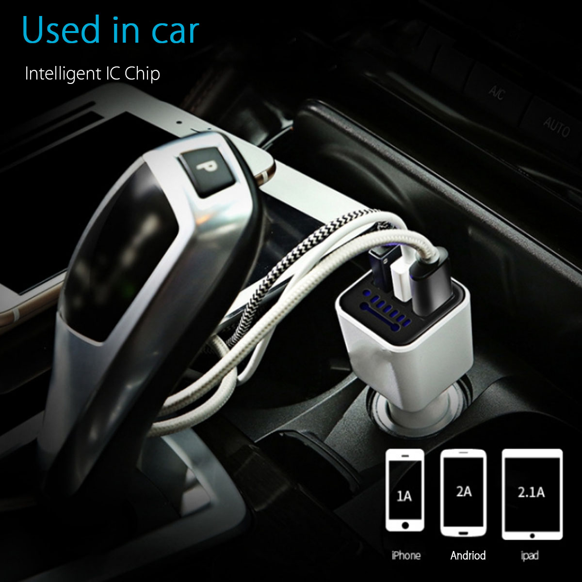 Car 3 USB Charger Negative Ion Ionizer Oxygen Generator Cleaner Air Purifier