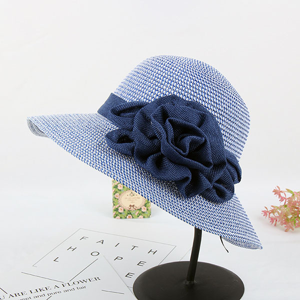 Women Summer Wide Brim Floppy Sun Straw Hat Casual Beach Sunshade Bucket Hat