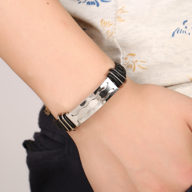 Stainless Steel PU Leather Woven Bracelet Bangle Chain Jewelry Accessories