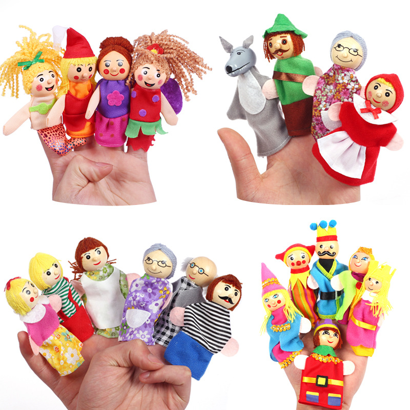 Christmas 7 Types Family Finger Puppets Set Soft Cloth Doll For Kids Childrens Gift Plush Toys