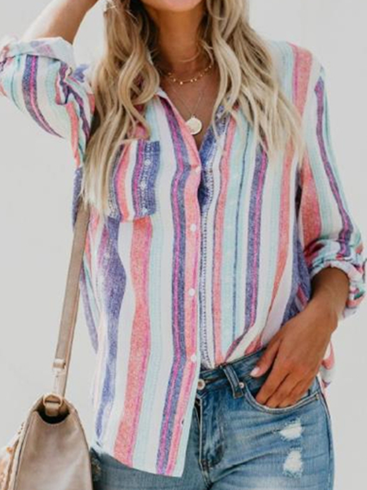 Women Long Sleeve Buttons Casual Irregular Striped Blouse with Pocket