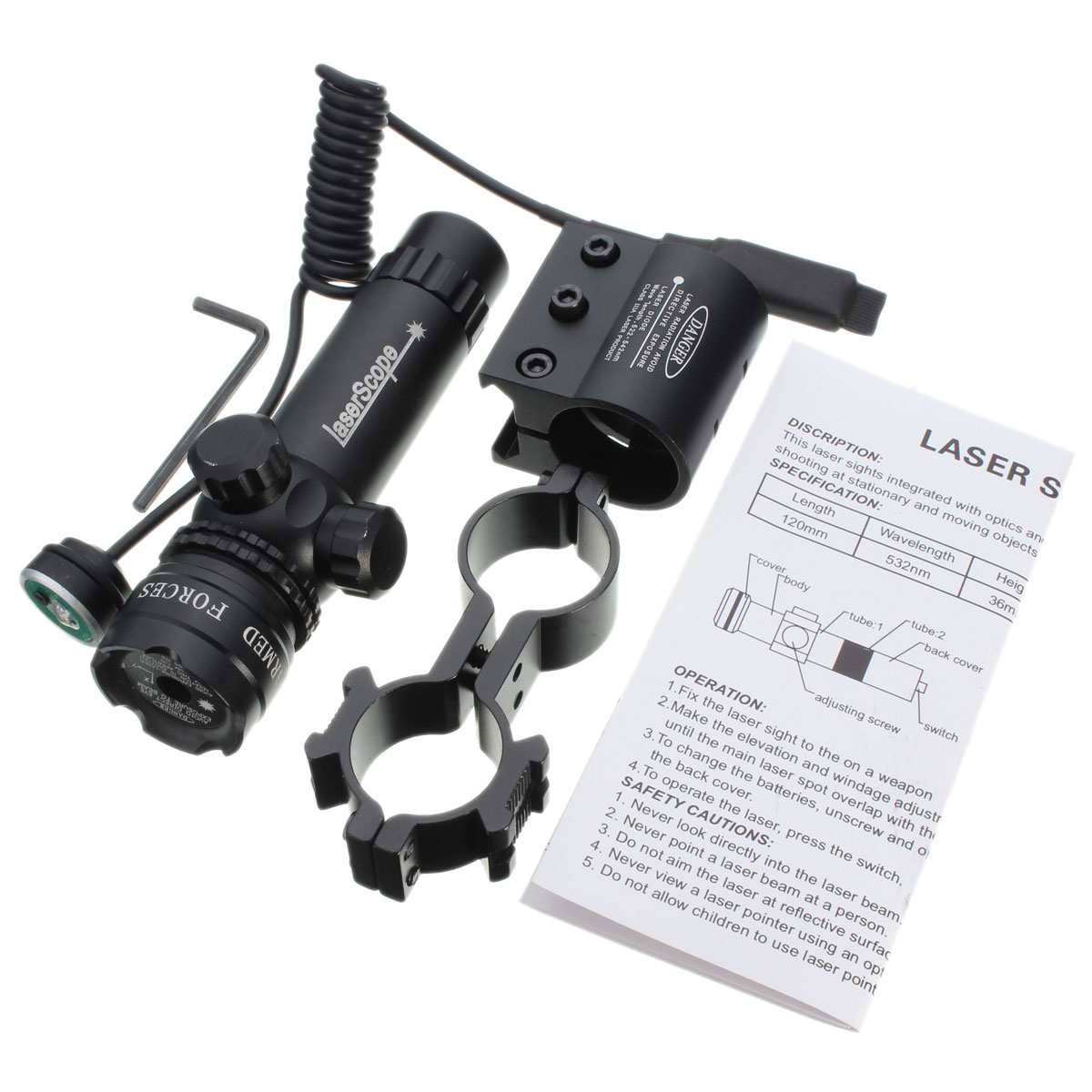 Green Dot Laser Sight Light Scope Remote Switch Tactical Barrel Rail Mount Holder