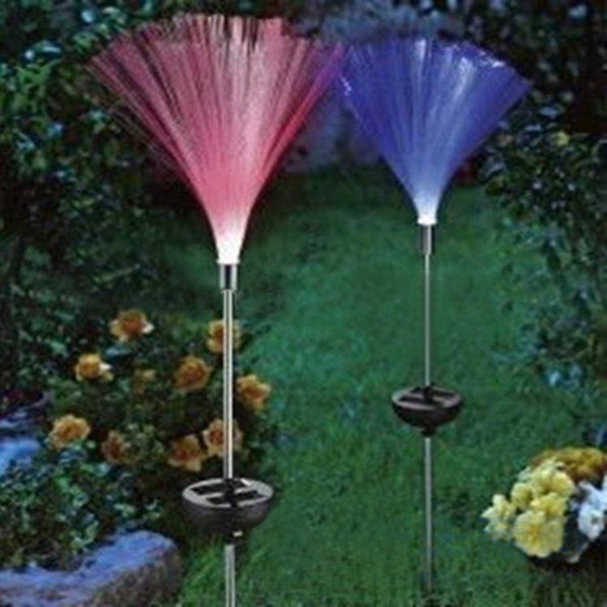1.2V 2pcs Solar Power Color Change Path Lights LED Garden Lawn Spot Lamp Outdoor Yard