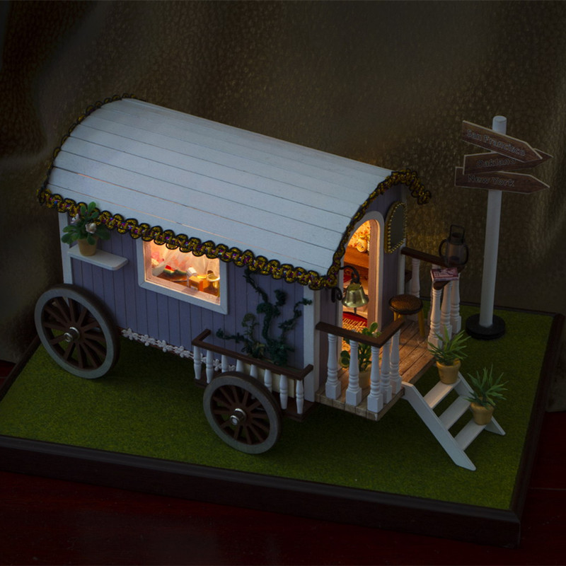 iiecreate 130-20F Travel Adventures With Furniture Light Dust Proof DIY Dollhouse Collection Gift