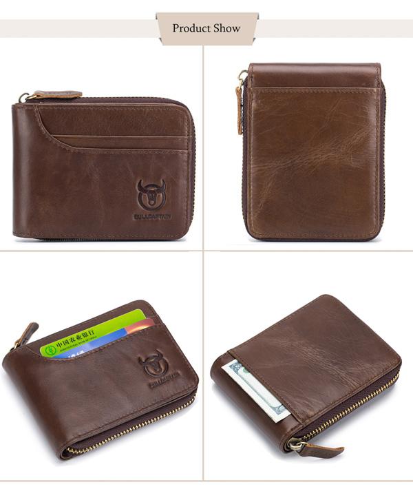 Bullcaptain Zip Around Leather Wallet for Men