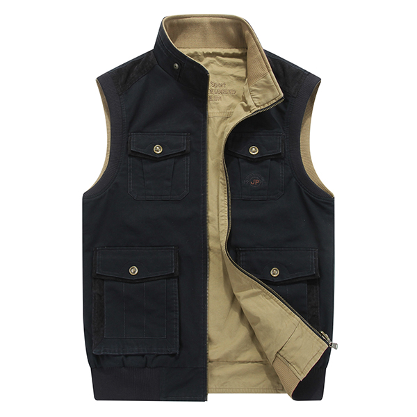 Mens Mutil Pockets Outdoor Travel Cotton Vest Plus Size