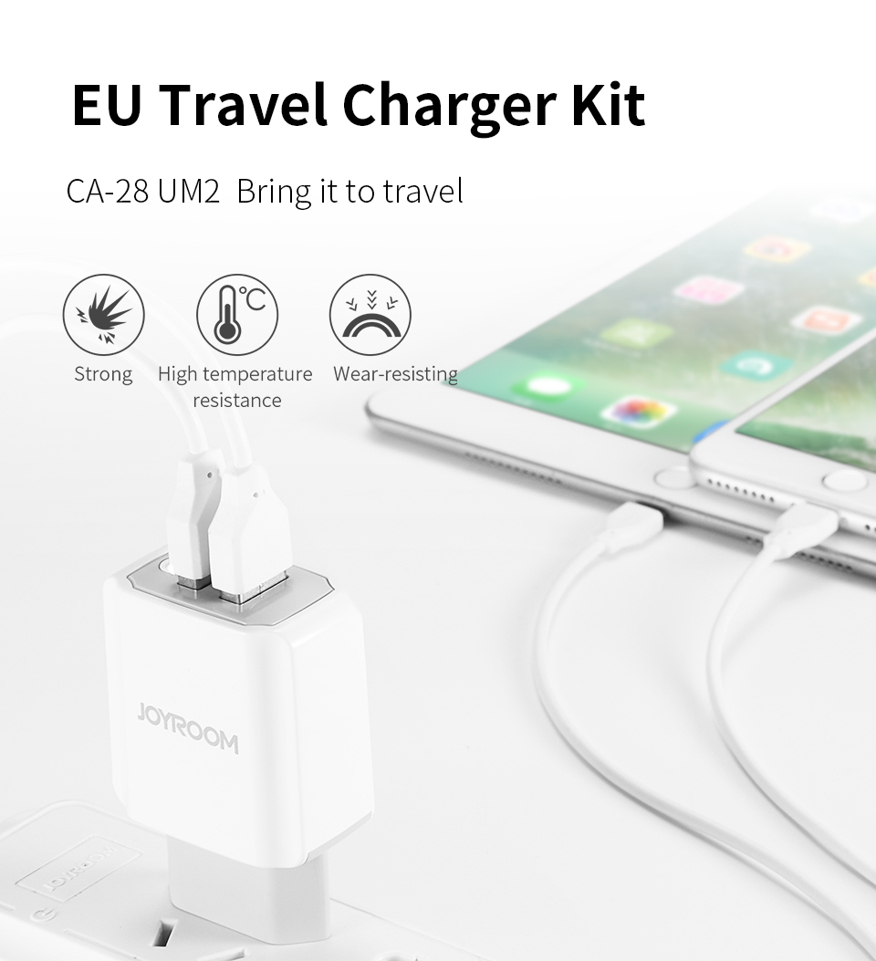 JOYROOM CA-28 2A 2Ports EU Plug Travel Charger With Type-C Cable For iphone 8 Samsung S8