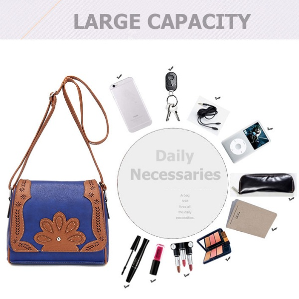 Women Quality Floral PU Leather Vintage Elegant Shoulder Bag Crossbody Bag