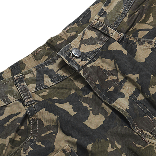 Mens Camouflage Multi Pocket Military Style Outdooors Casual Straight Cotton Cargo Pants