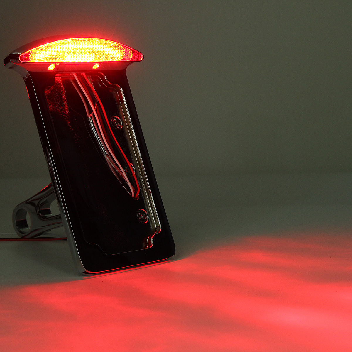 Motorcycle License Plate LED Tail Light Vertical Side with Mount Bracket For Harley