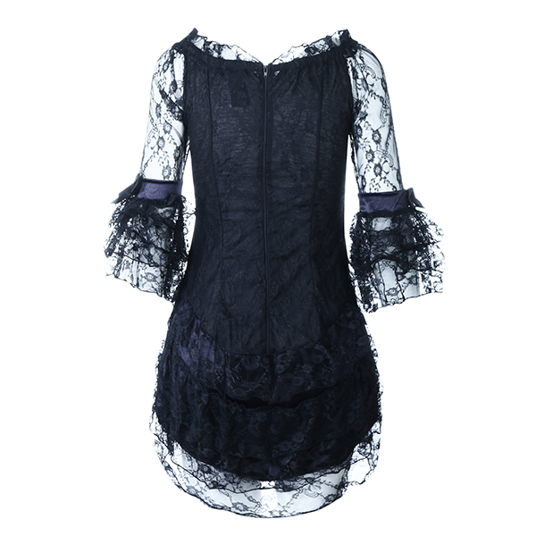 Halloween Costumes Woman Sexy Lace Cosplay Black Middle Ages Pirates Vampire Dresses