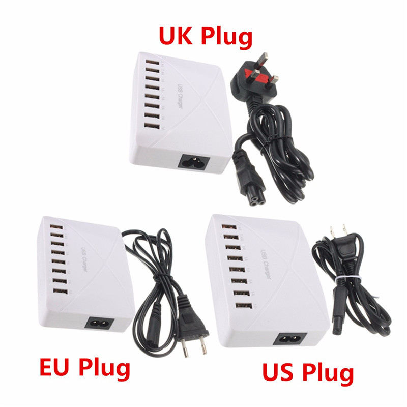 High Speed 8 Ports USB Charger Hub AC Power Adapter Socket Splitter UK US EU Plug For iPhone Samsung
