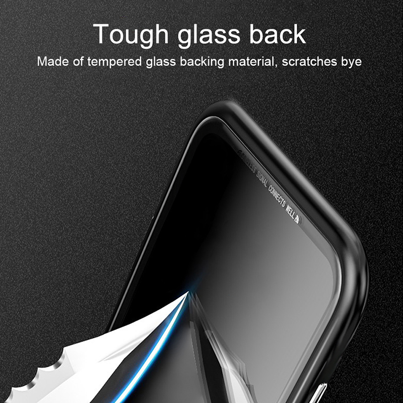 Bakeey 360° Magnetic Adsorption Flip Metal Tempered Glass Protective Case for OPPO F9 / OPPO F9 Pro