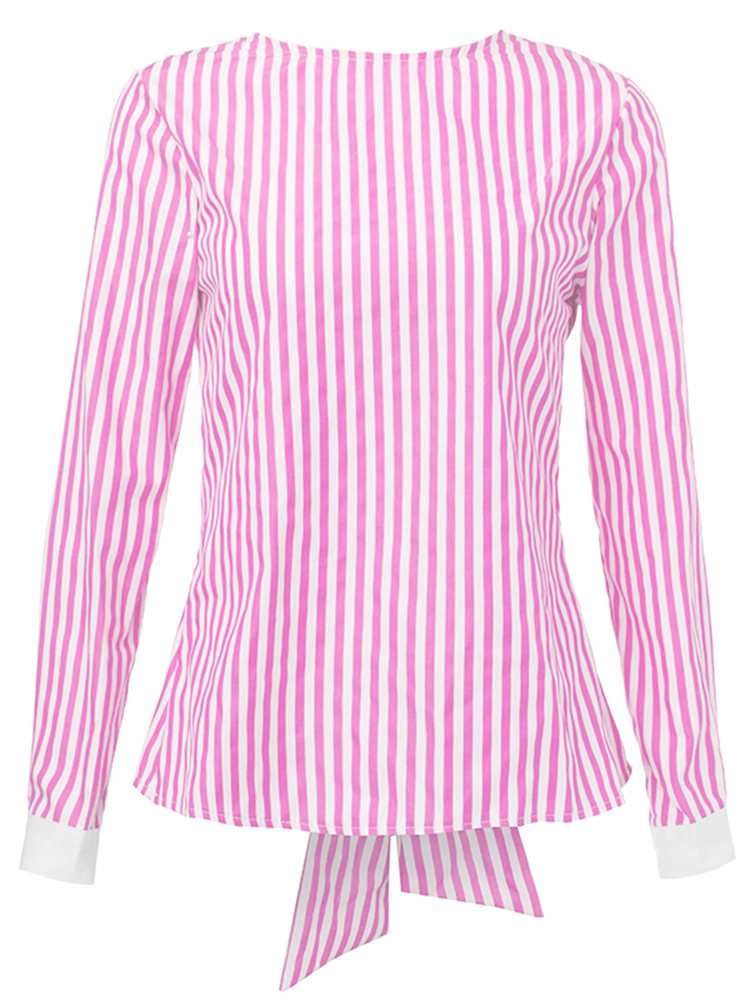 Sexy Casual Stripe Bow Backless Women Blouse