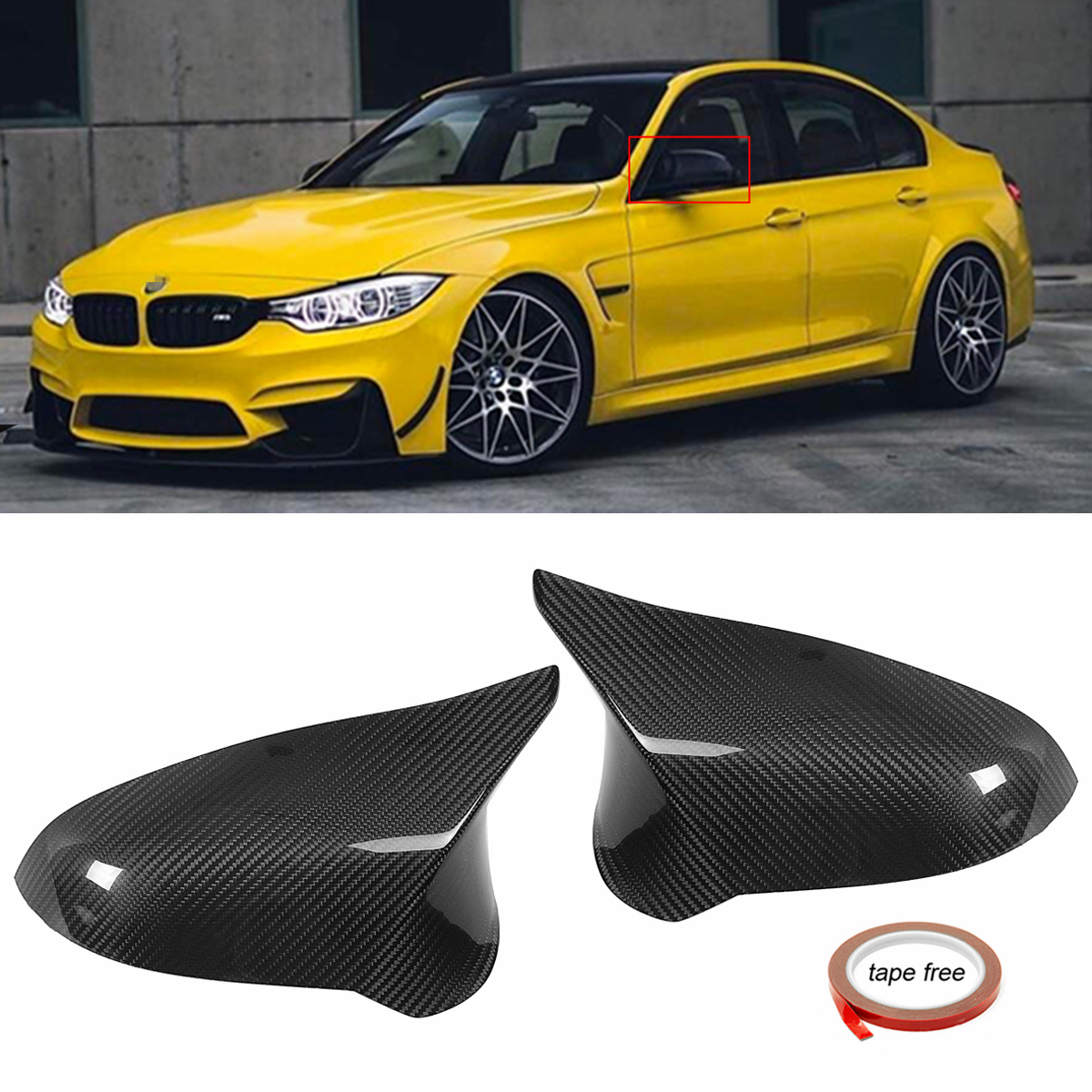 Left Hand Driver Performance Style Carbon Fiber Side Mirror Cover Caps for BMW 2015-2018 F82 M4
