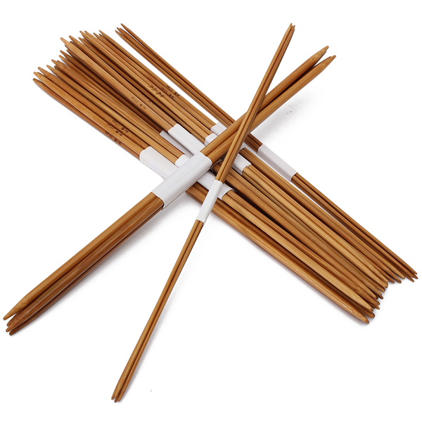 44pcs 11 Sizes Carbonized Bamboo Double Pointed Knitting Needles Hat Sweater Scarf Crochet Hooks