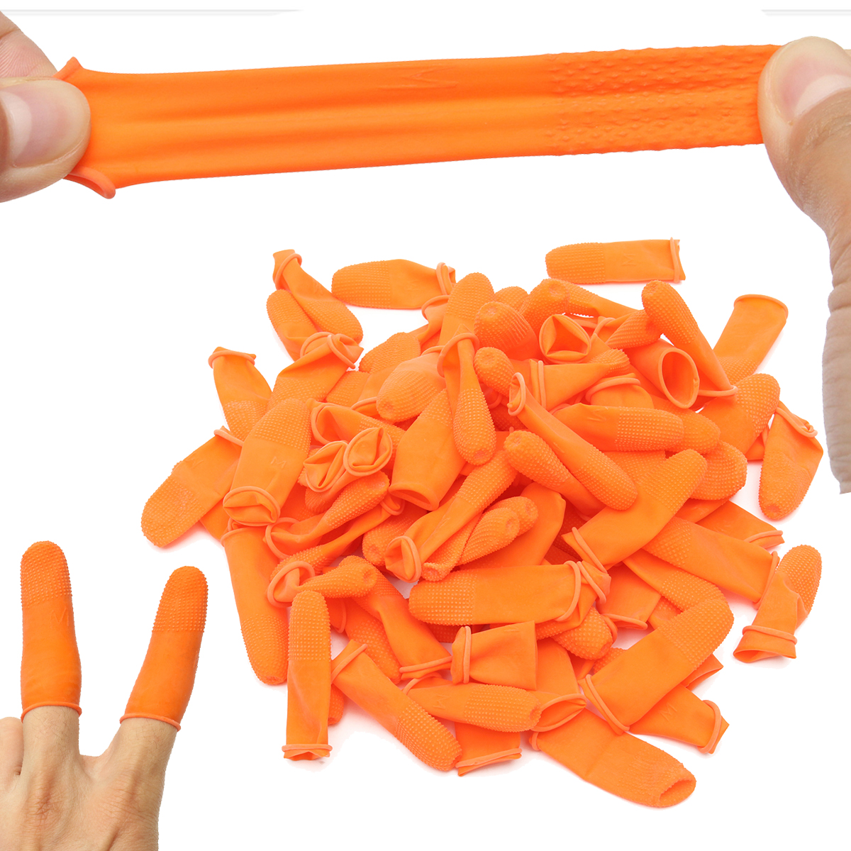Suleve™ FC01 100Pcs Orange Anti Slip Latex Finger Cot Rubber Fingertip Anti Static Protective Finger Gloves