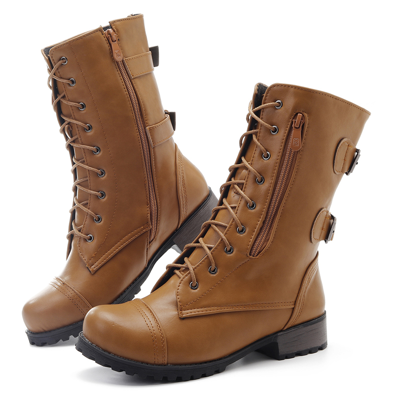 Large Size Lace Up Casual Boots