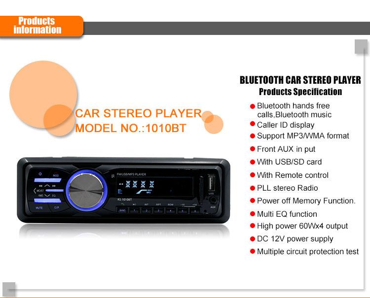 DC 12V 60W x 4 Car Stereo Radio bluetooth MP3 Player Remote Control FM Aux SD USB Charging Speaker