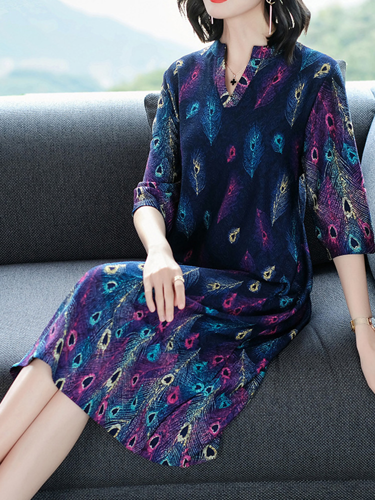 Elegant Women V-Neck Print Half Sleeve Mid Long Dress