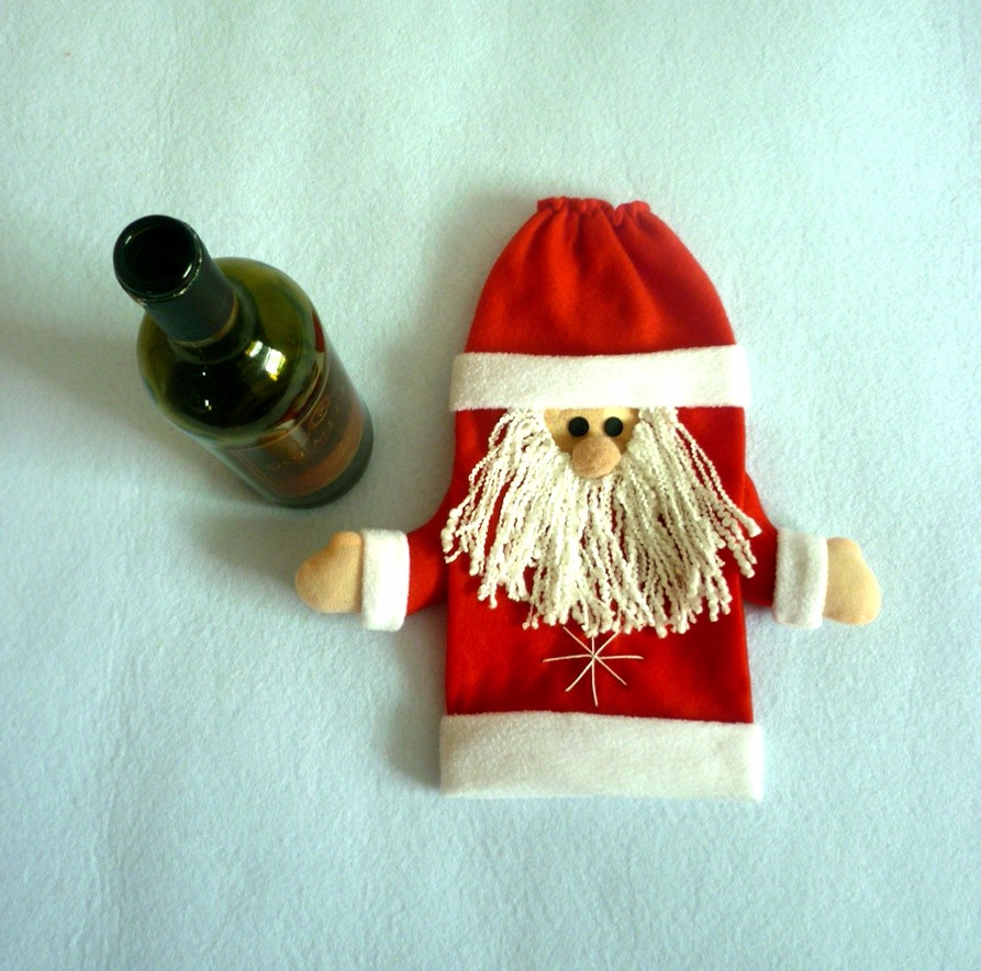 Red Wine Bottle Cover Bags Christmas Santa Claus Bag Dinner Table Decoration Home Party Decors