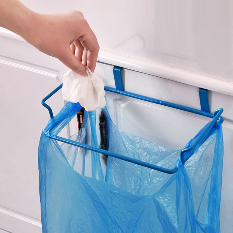 Kitchen Garbage Bag Rack Creative Multi Functions Wall Hanging Rack Door Back Garbage Bag Debris Hook Multi-purpose Kitchen Cabinets Rags Storage Rack Hanging 2 Colors