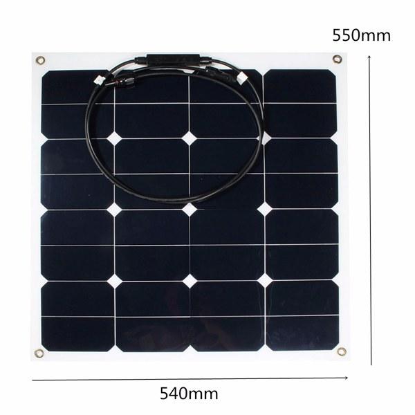 12V 50W Monocrystalline Semi Flexible Solar Panel Battery Charger For RV Boat Smart Car