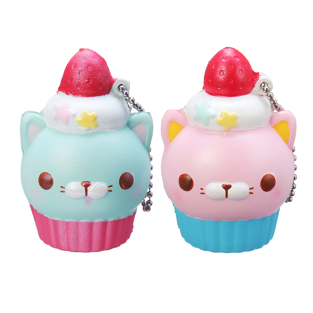 Animal Squishy Cat Cup 12CM Licensed Slow Rising Gift Collection Cell Phone Strap